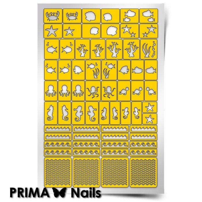 PrimaNails, Трафарет для дизайна ногтей - Морское дноPrimaNails<br>Самоклеющиеся трафареты<br>