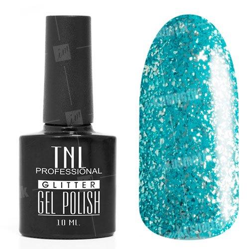 TNL, Гель-лак Glitter №03 - Голубой (10 мл.)TNL Professional <br>Гель-лак, цвет морской волны, с серебряной слюдой, полупрозрачный,10мл<br>