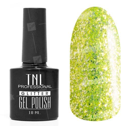 TNL, Гель-лак - Glitter №11TNL Professional <br>Гель-лак,неоново-зеленый глиттер, плотный,10мл<br>