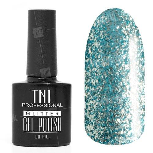 TNL, Гель-лак Glitter №23 - Васильковый (10 мл.)TNL Professional <br>Гель-лак, светлый зелено-голубой, с блестками, полупрозрачный,10мл<br>