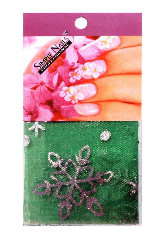 Simply Nails, Шелк для дизайна (Зелено-серебряная снежинка)