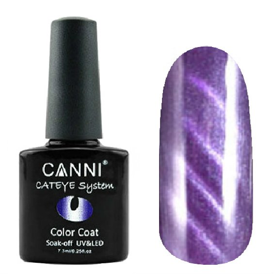 Canni, Cat Eye Color Coat - Магнитный гель лак №280 (7.3 мл)Canni<br>Магнитный гель лак, сиреневый, перламутр, плотный<br>