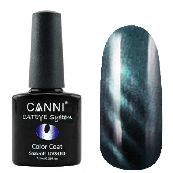 Canni, Cat Eye Color Coat - Магнитный гель лак №294 (7.3 мл)Canni<br>Магнитный гель лак, тёмный черно-синий, перламутр, плотный<br>