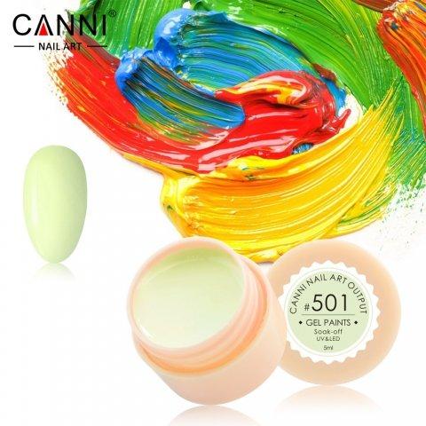 Canni, Гель-краска №501Гель краски Canni<br>Гель-краска, бледно-салатовый оттенок, с липким слоем<br>