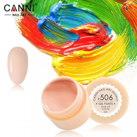 Canni, Гель-краска №506Гель-краски Canni<br>Гель-краска,бледно-карамельный оттенок, с липким слоем<br>