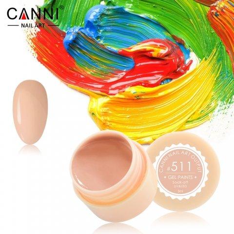 Canni, Гель-краска №511Гель краски Canni<br>Гель-краска, пастельно-оранжевыйоттенок, с липким слоем<br>