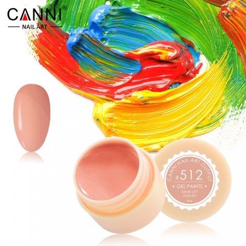 Canni, Гель-краска №512Гель краски Canni<br>Гель-краска, розово-карамельныйоттенок, с липким слоем<br>