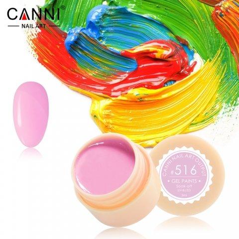 Canni, Гель-краска №516Гель краски Canni<br>Гель-краска, лилово-розовогооттенка, с липким слоем<br>