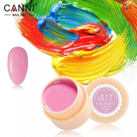 Canni, Гель-краска №517Гель краски Canni<br>Гель-краска,лилово-розовогооттенка, с липким слоем<br>