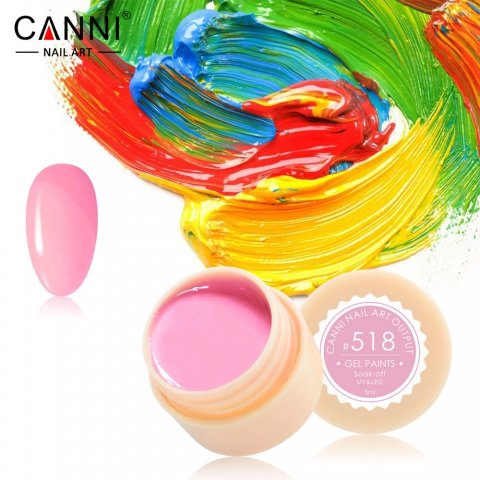 Canni, Гель-краска №518Гель краски Canni<br>Гель-краска, ярко-розовыйоттенок, с липким слоем<br>