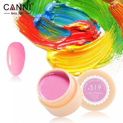 Canni, Гель-краска №519Гель краски Canni<br>Гель-краска, тёмно-розовыйоттенок, с липким слоем<br>