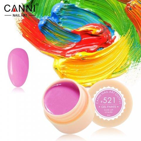 Canni, Гель-краска №521Гель краски Canni<br>Гель-краска, оттенкабледной фуксии, с липким слоем<br>