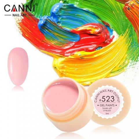 Canni, Гель-краска №523Гель краски Canni<br>Гель-краска, розовогооттенка, с липким слоем<br>