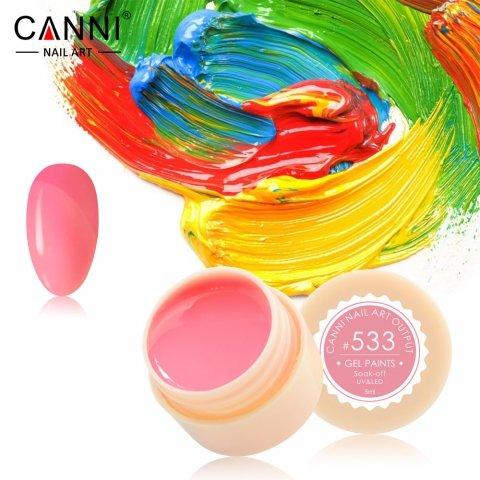 Canni, Гель-краска №533Гель краски Canni<br>Гель-краска,оранжево-розовыйоттенок, с липким слоем<br>