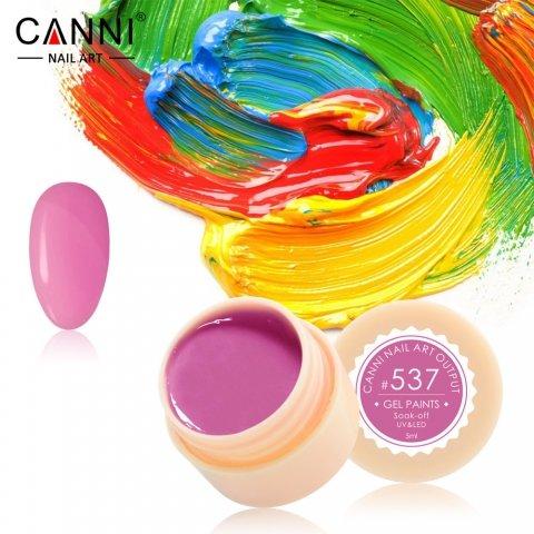 Canni, Гель-краска №537Гель краски Canni<br>Гель-краска, ярко-розовогооттенка, с липким слоем<br>
