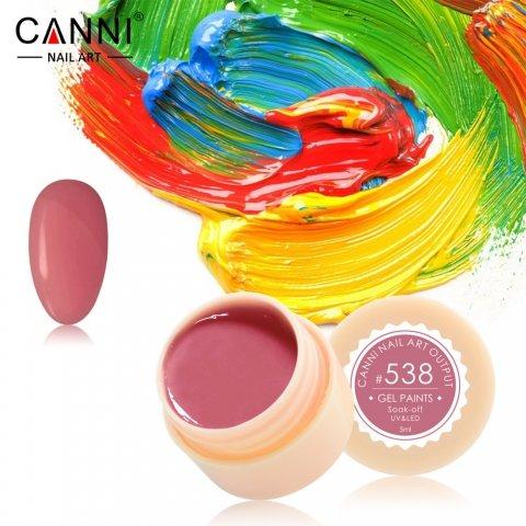 Canni, Гель-краска №538Гель-краски Canni<br>Гель-краска, тёмно-коралловый оттенок, с липким слоем<br>