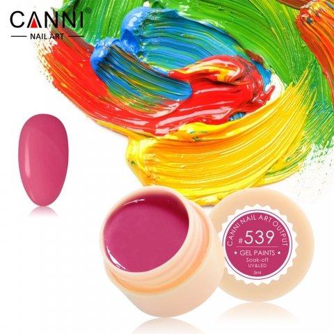 Canni, Гель-краска №539Гель краски Canni<br>Гель-краска, красно-розовый оттенок,с липким слоем<br>
