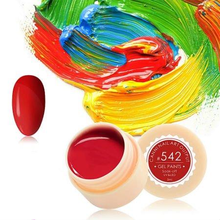 Canni, Гель-краска №542Гель краски Canni<br>Гель-краска,красногооттенка, с липким слоем<br>