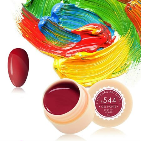 Canni, Гель-краска №544Гель краски Canni<br>Гель-краска, светло-вишнёвогооттенка, с липким слоем<br>