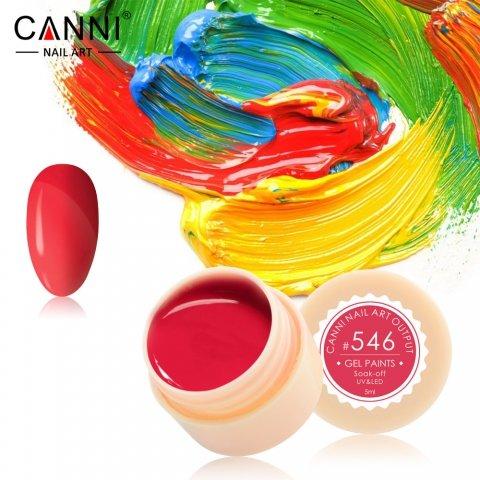 Canni, Гель-краска №546Гель краски Canni<br>Гель-краска,красно-розовогооттенка, с липким слоем<br>