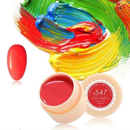 Canni, Гель-краска №547Гель краски Canni<br>Гель-краска,коралловогооттенка, с липким слоем<br>