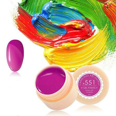Canni, Гель-краска №551Гель краски Canni<br>Гель-краска,светло-фиолетовогоцвета, с липким слоем<br>