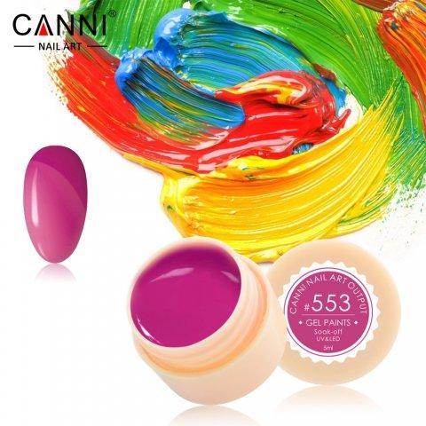 Canni, Гель-краска №553Гель краски Canni<br>Гель-краска,тёмно-малиновогооттенка, с липким слоем<br>