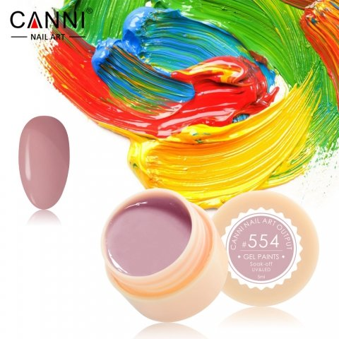 Canni, Гель-краска №554Гель краски Canni<br>Гель-краска,оттенок розового какао, с липким слоем<br>