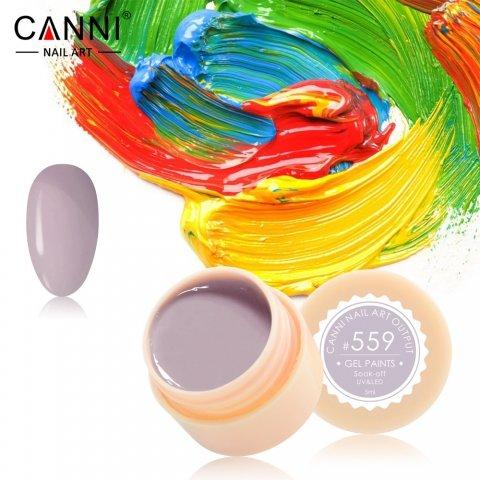 Canni, Гель-краска №559Гель краски Canni<br>Гель-краска, лилово-серый цвет, с липким слоем<br>