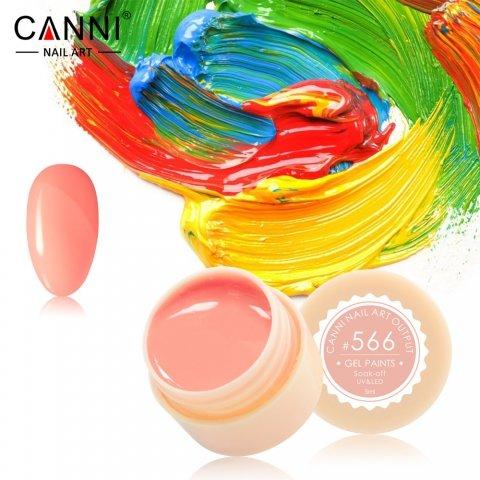 Canni, Гель-краска №566Гель краски Canni<br>Гель-краска, желто-розового оттенка, с липким слоем<br>