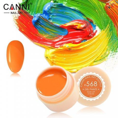 Canni, Гель-краска №568Гель краски Canni<br>Гель-краска,цитрусового цвета, с липким слоем<br>