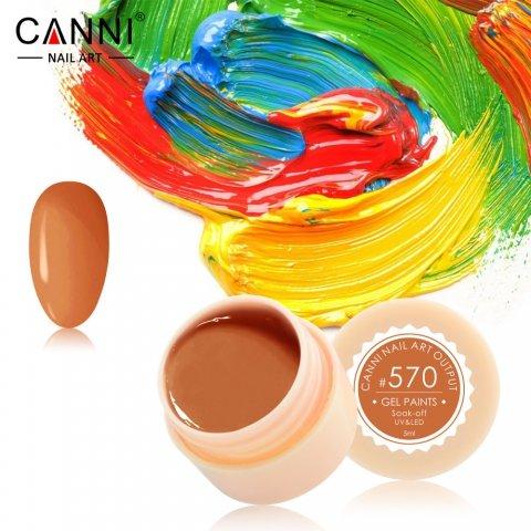 Canni, Гель-краска №570Гель краски Canni<br>Гель-краска,оранжево-карамельный оттенок, с липким слоем<br>