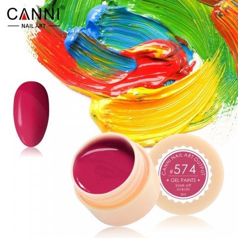 Canni, Гель-краска №574Гель краски Canni<br>Гель-краска,розово-малинового цвета, с липким слоем<br>