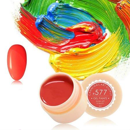 Canni, Гель-краска №577Гель краски Canni<br>Гель-краска,красно-оранжевого цвета, с липким слоем<br>