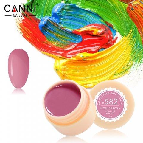 Canni, Гель-краска №582Гель краски Canni<br>Гель-краска,лилово-розового цвета, с липким слоем<br>