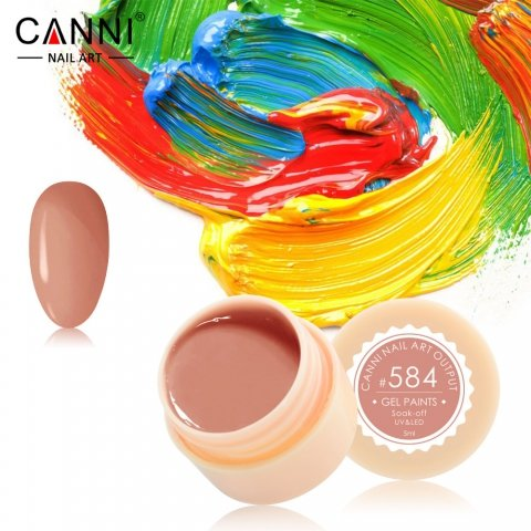 Canni, Гель-краска №584Гель краски Canni<br>Гель-краска, нежного карамельного оттенка,с липким слоем<br>