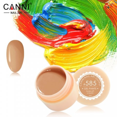 Canni, Гель-краска №585Гель краски Canni<br>Гель-краска, телесно-карамельного цвета, с липким слоем<br>