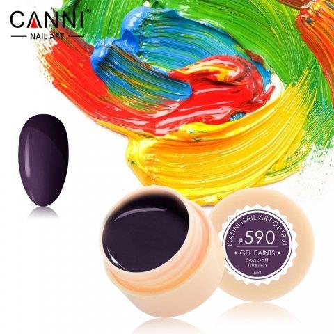 Canni, Гель-краска №590Гель краски Canni<br>Гель-краска,баклажаново-коричневого оттенка, с липким слоем<br>