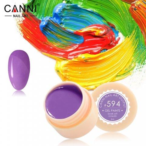 Canni, Гель-краска №594Гель краски Canni<br>Гель-краска, лавандовый оттенок, с липким слоем<br>