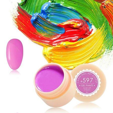 Canni, Гель-краска №597Гель краски Canni<br>Гель-краска,нежно-розовый цвет с сиреневым оттенком, с липким слоем<br>