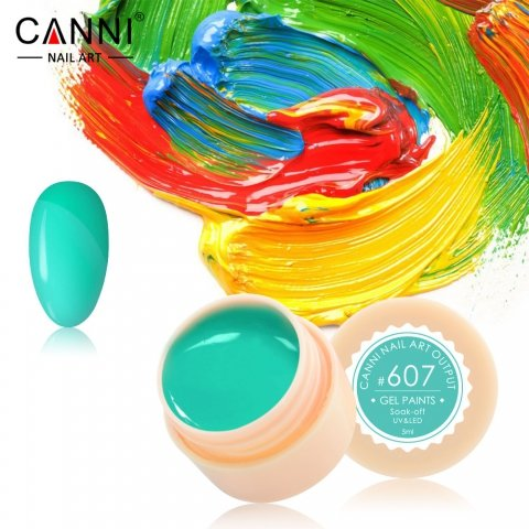 Canni, Гель-краска №607Гель краски Canni<br>Гель-краска, ярко-бирюзового цвета,с липким слоем<br>