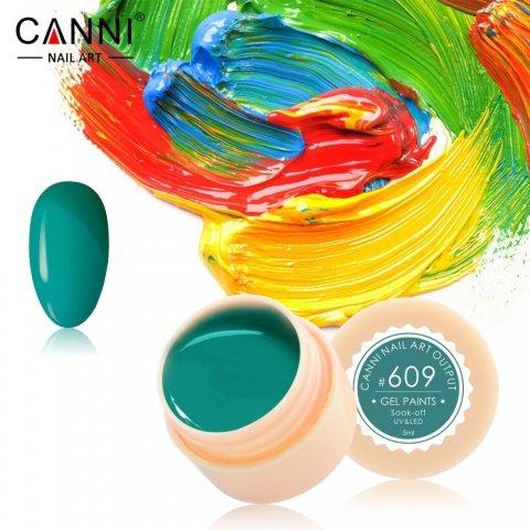 Canni, Гель-краска №609Гель краски Canni<br>Гель-краска, нефритовый цвет,с липким слоем<br>