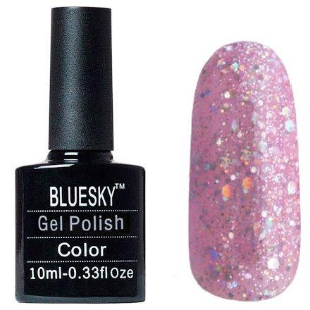 Bluesky Шеллак, цвет №069Bluesky 10 мл<br>Гель-лак светло-лиловый с крупными блестками, плотный.<br>