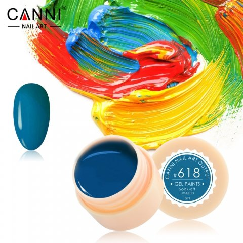 Canni, Гель-краска №618Гель краски Canni<br>Гель-краска, сине-зелёный оттенок,с липким слоем<br>