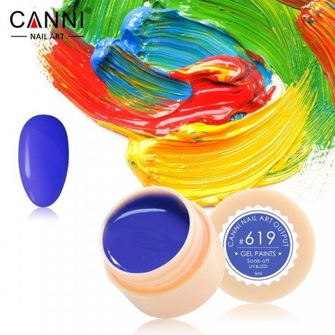 Canni, Гель-краска №619Гель-краски Canni<br>Гель-краска, тёмно-синий цвет,с липким слоем<br>