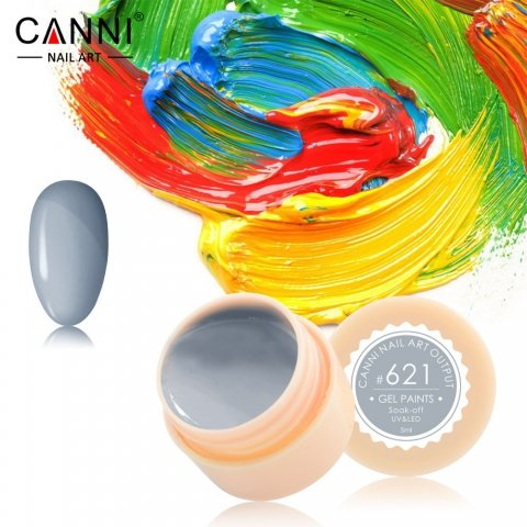 Canni, Гель-краска №621Гель краски Canni<br>Гель-краска, серого цвета,с липким слоем<br>
