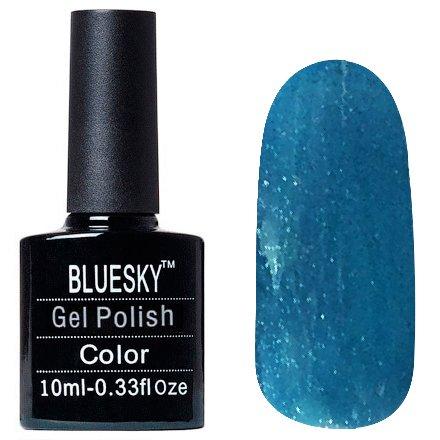 Bluesky, Шеллак цвет Z205 10mlBluesky 10 мл<br>Гель-лак бирюзовый, полупрозрачный, с серебряными блестками<br>