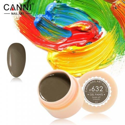 Canni, Гель-краска №632Гель краски Canni<br>Гель-краска, зеленовато-коричневого цвета,с липким слоем<br>