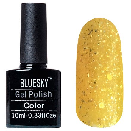Bluesky, Шеллак цвет Z244 10mlBluesky 10 мл<br>Гель-лак желтый, с блестками, полупрозрачный<br>