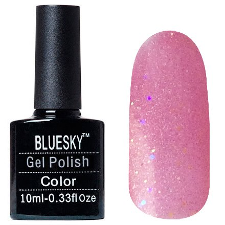 Bluesky, Шеллак цвет Z304 10mlBluesky 10 мл<br>Гель-лак светлый розовой, с голографическим шиммером, с золотистыми и фиолетовыми блестками, полупрозрачный<br>